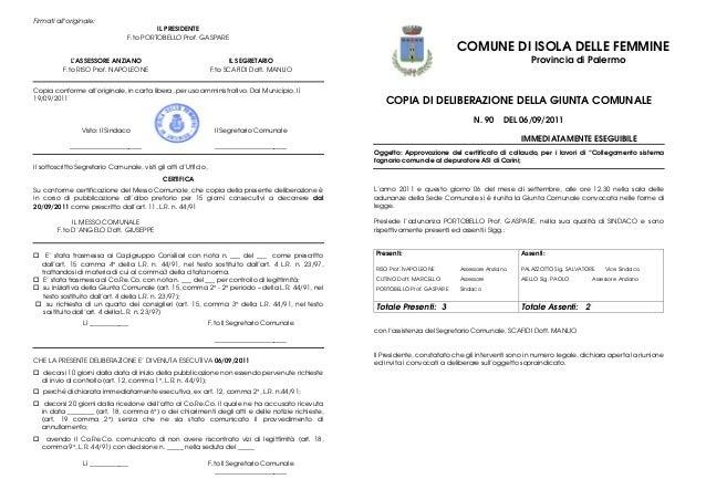 D'arpa responsabile v settore settembre 2011 depuratore carini delibera di g.m. n.90