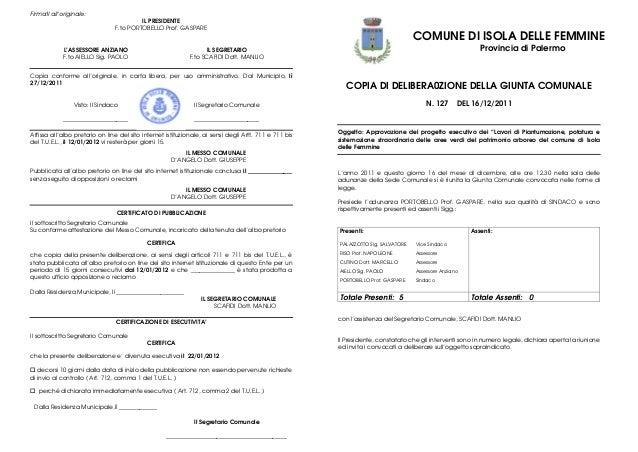 Firmati all'originale: IL PRESIDENTE F.to PORTOBELLO Prof. GASPARE  L'ASSESSORE ANZIANO F.to AIELLO Sig. PAOLO  COMUNE DI ...