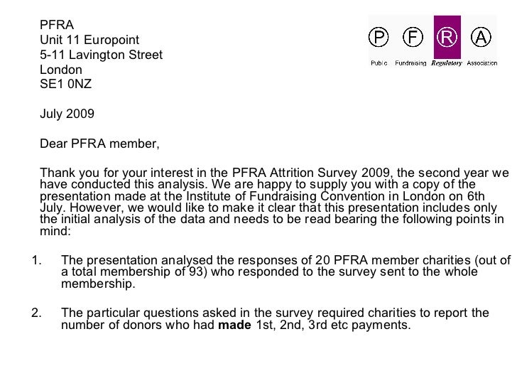PFRA DARS 2009 Maximising Income From Face To Face Regular Giving 2009 Pfra Attrition Survey Distribution Copy