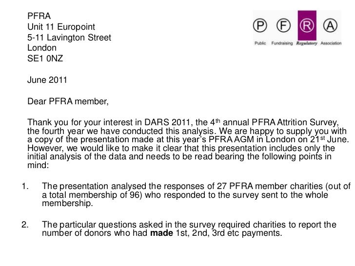Dars 2011 pfra's 4th annual donor attrition retention survey