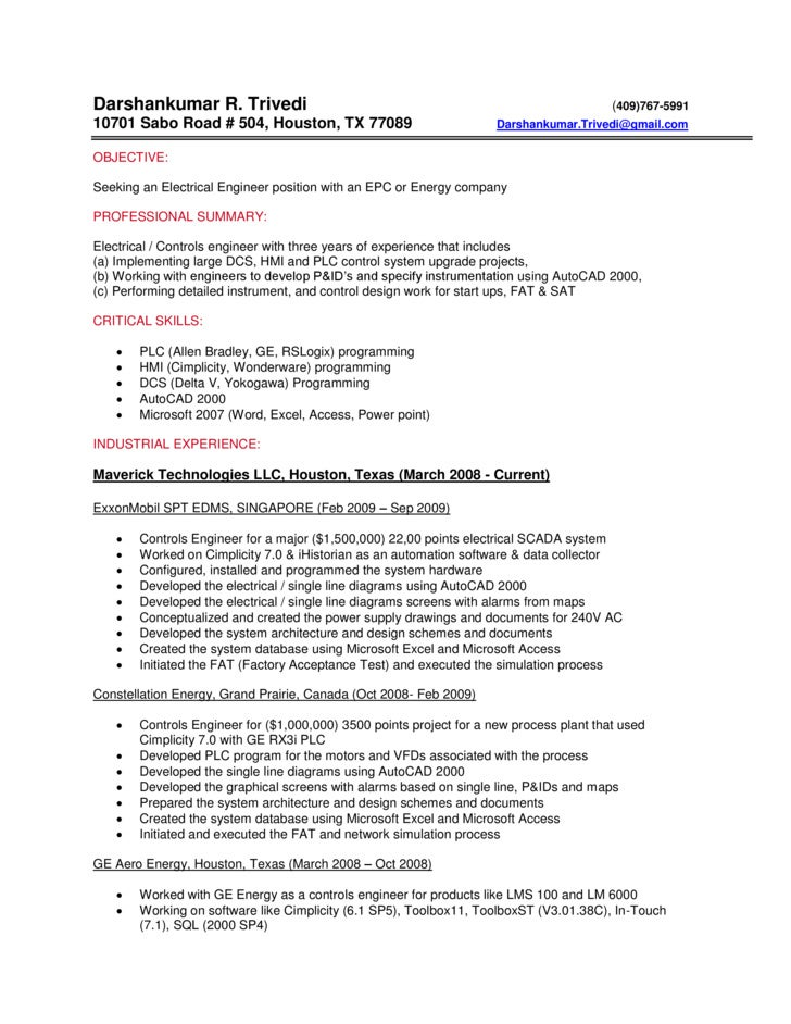 Resume Of Control Engineer