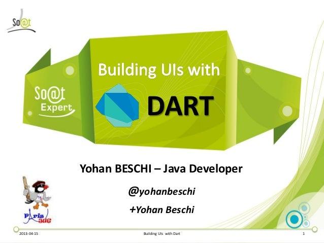 DART             Yohan BESCHI – Java Developer                     @yohanbeschi                     +Yohan Beschi2013-04-1...