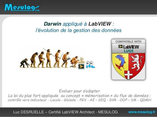 www.mesulog.fr Darwin appliqué à LabVIEW : l'évolution de la gestion des données Luc DESRUELLE – Certifié LabVIEW Architec...