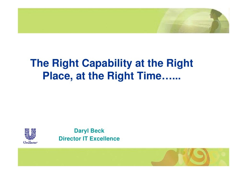 The Right Capability at the Right       g       p    y          g   Place, at the Right Time…...               Daryl Beck ...