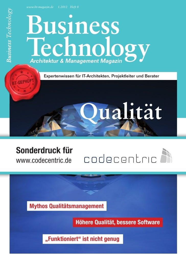 www.bt-magazin.de   1.2012 Heft 8                    expertenwissen für it-Architekten, Projektleiter und berater         ...