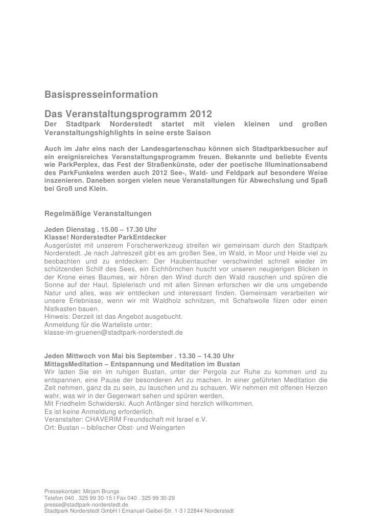 BasispresseinformationDas Veranstaltungsprogramm 2012Der Stadtpark Norderstedt startet mit vielen                         ...