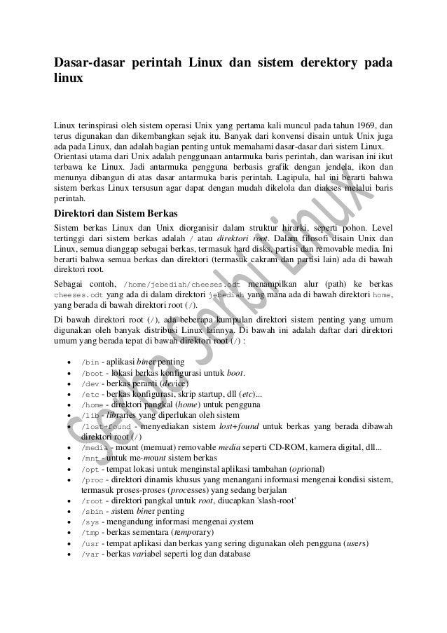 Dasar dasar perintah linux dan sistem derektory pada linux ok