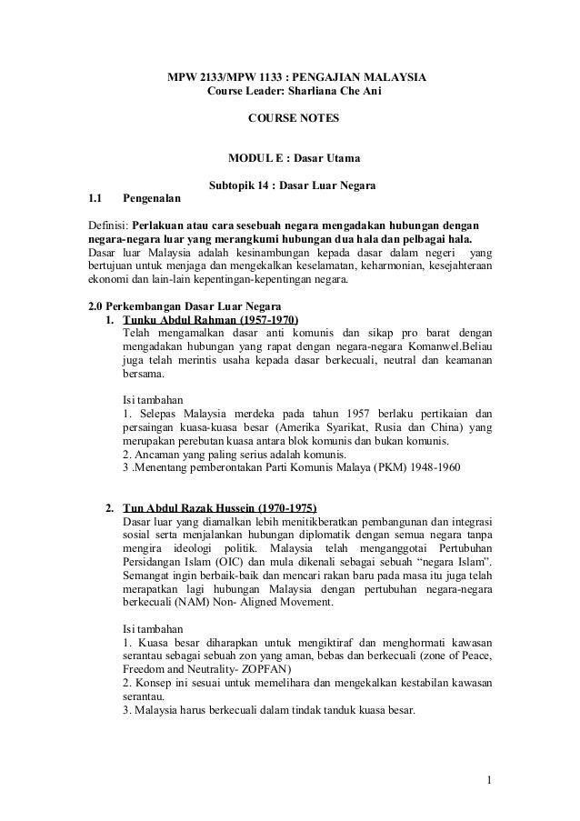 MPW 2133/MPW 1133 : PENGAJIAN MALAYSIA Course Leader: Sharliana Che Ani COURSE NOTES MODUL E : Dasar Utama Subtopik 14 : D...