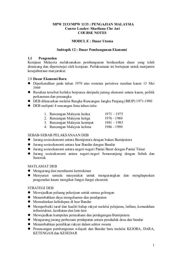 MPW 2133/MPW 1133 : PENGAJIAN MALAYSIA Course Leader: Sharliana Che Ani COURSE NOTES MODUL E : Dasar Utama Subtopik 12 : D...