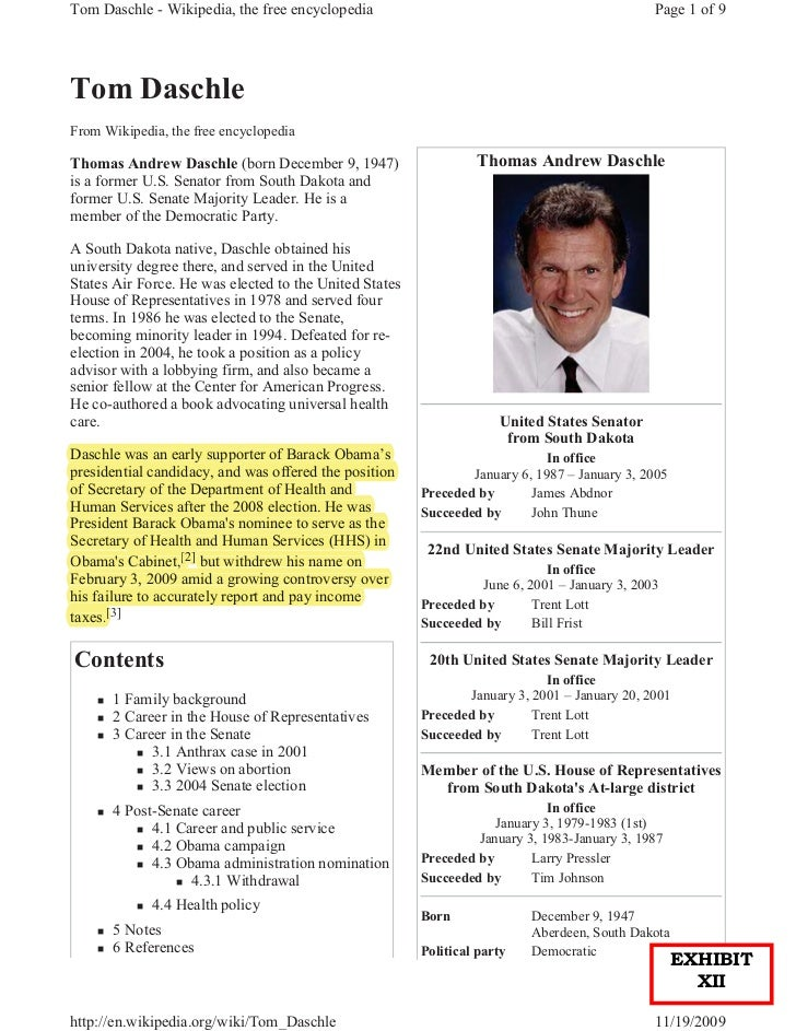 Tom Daschle - Wikipedia, the free encyclopedia                                                 Page 1 of 9Tom DaschleFrom ...