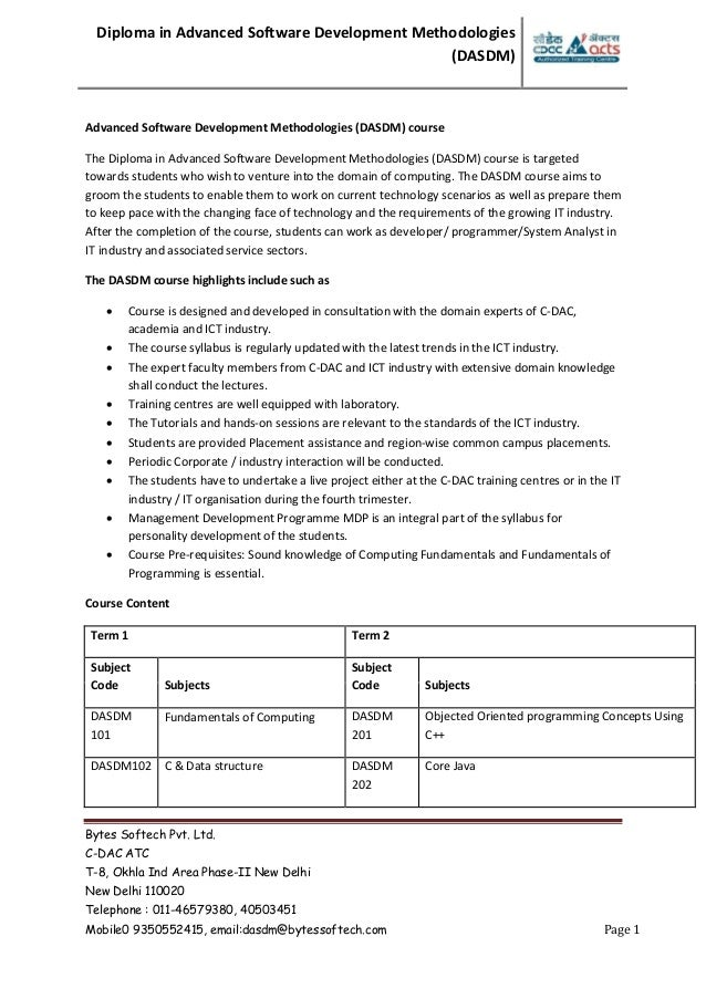Dasdm advanced software development methodologies