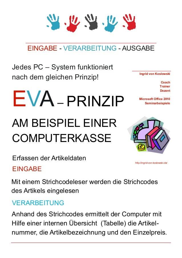 EINGABE - VERARBEITUNG - AUSGABEJedes PC – System funktioniert                                              Ingrid von Kos...