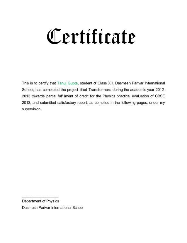 Physics project report certificate format for yelopaper Gallery