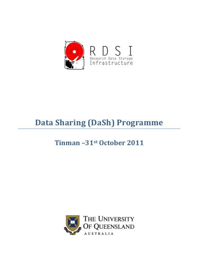 Data Sharing (DaSh) Programme Tinman –31st October 2011