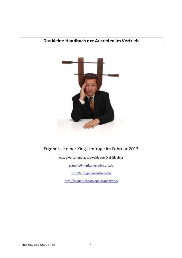 Das kleine Handbuch der Ausreden im Vertrieb & Verkauf