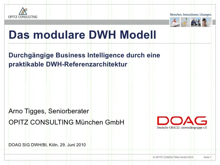 Das modulare DWH-Modell - DOAG SIG BI/DWH 2010 - OPITZ CONSULTING - ArnoTigges