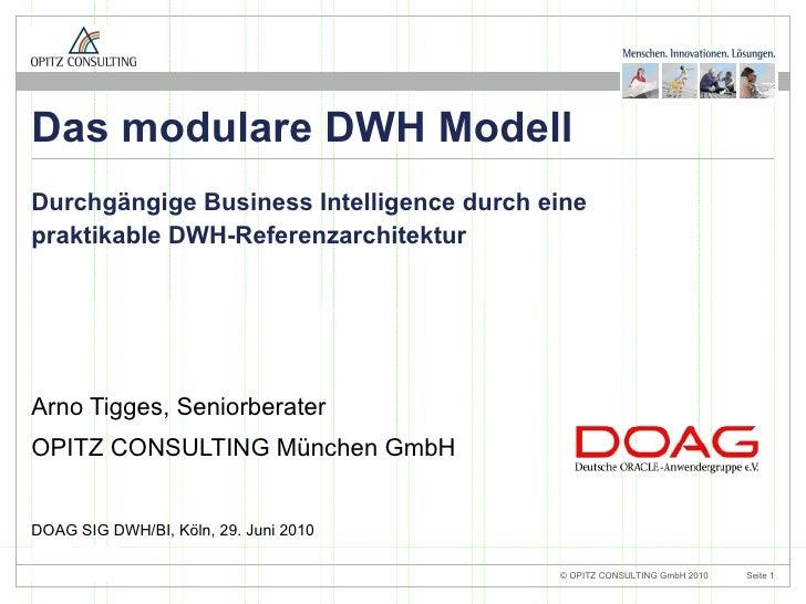 Das modulare DWH-Modell - DOAG SIG BI/DWH 2010 - OPITZ CONSULTING - ArnoTigges