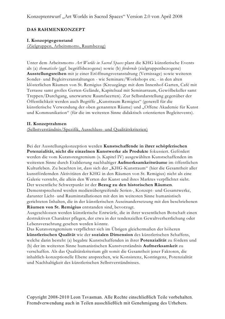"""Konzeptentwurf """"Art Worlds in Sacred Spaces"""" Version 2.0 von April 2008  DAS RAHMENKONZEPT  I. Konzeptgegenstand (Zielgrup..."""