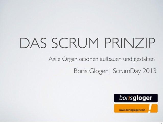 DAS SCRUM PRINZIPAgile Organisationen aufbauen und gestaltenBoris Gloger | ScrumDay 20131