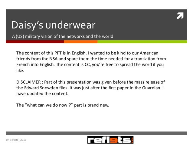 Daisy's underwear A (US) military vision of the networks and the world The content of this PPT is in English. I wanted to ...