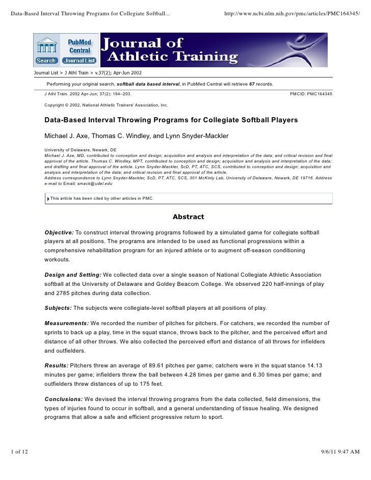 Data based interval throwing programs for collegiate softball players