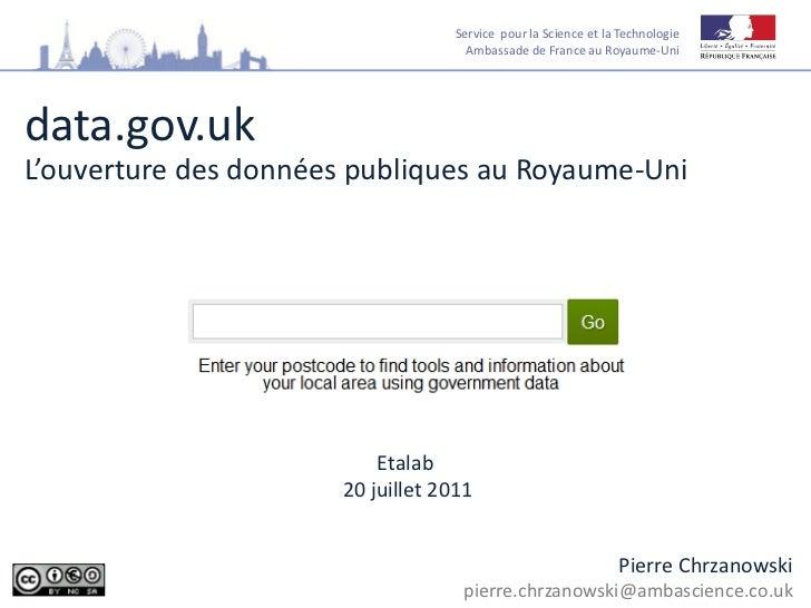 Service pour la Science et la Technologie                                     Ambassade de France au Royaume-Unidata.gov.u...