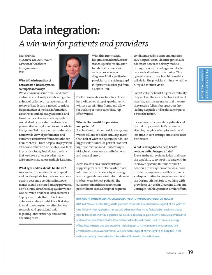 Data integration:A win-win for patients and providersPaul Grundy,                                                  With th...