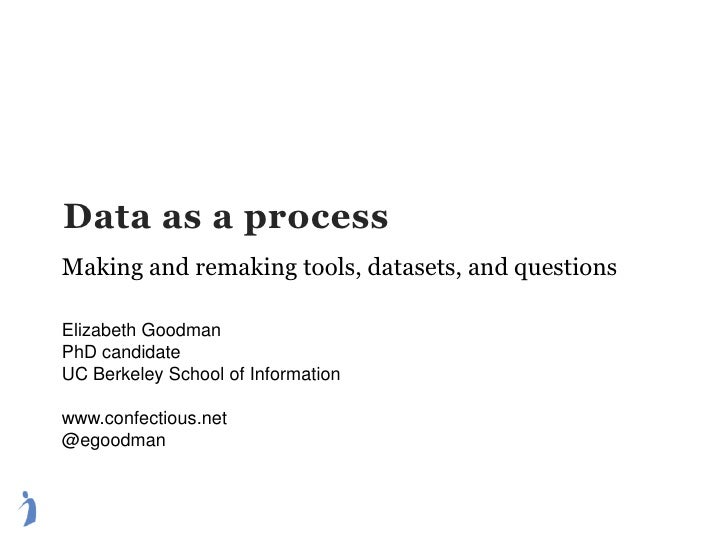 Data as a process Making and remaking tools, datasets, and questions Elizabeth Goodman PhD candidate UC Berkeley School of...