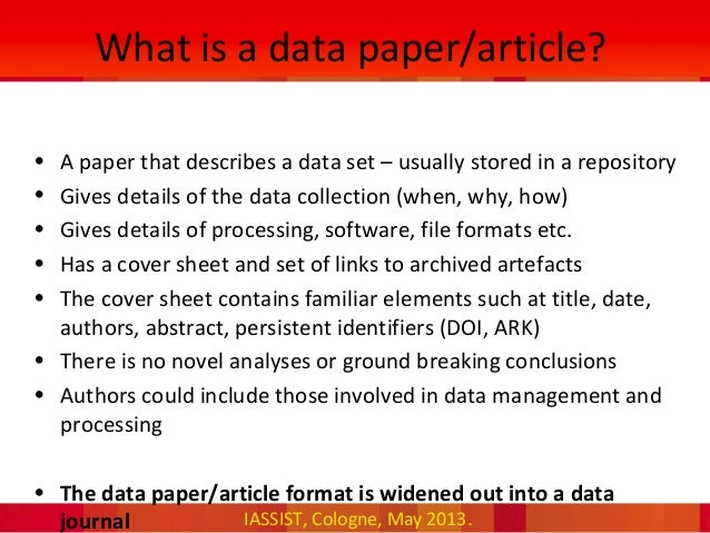 What's a Scholarly Paper?