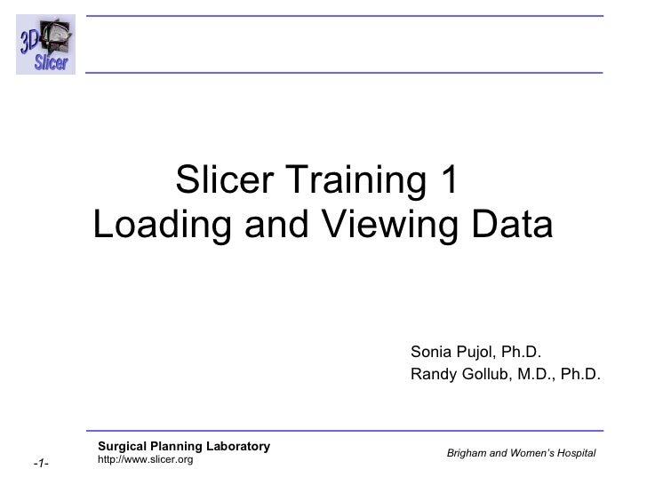 Slicer Training 1  Loading and Viewing Data Sonia Pujol, Ph.D. Randy Gollub, M.D., Ph.D.