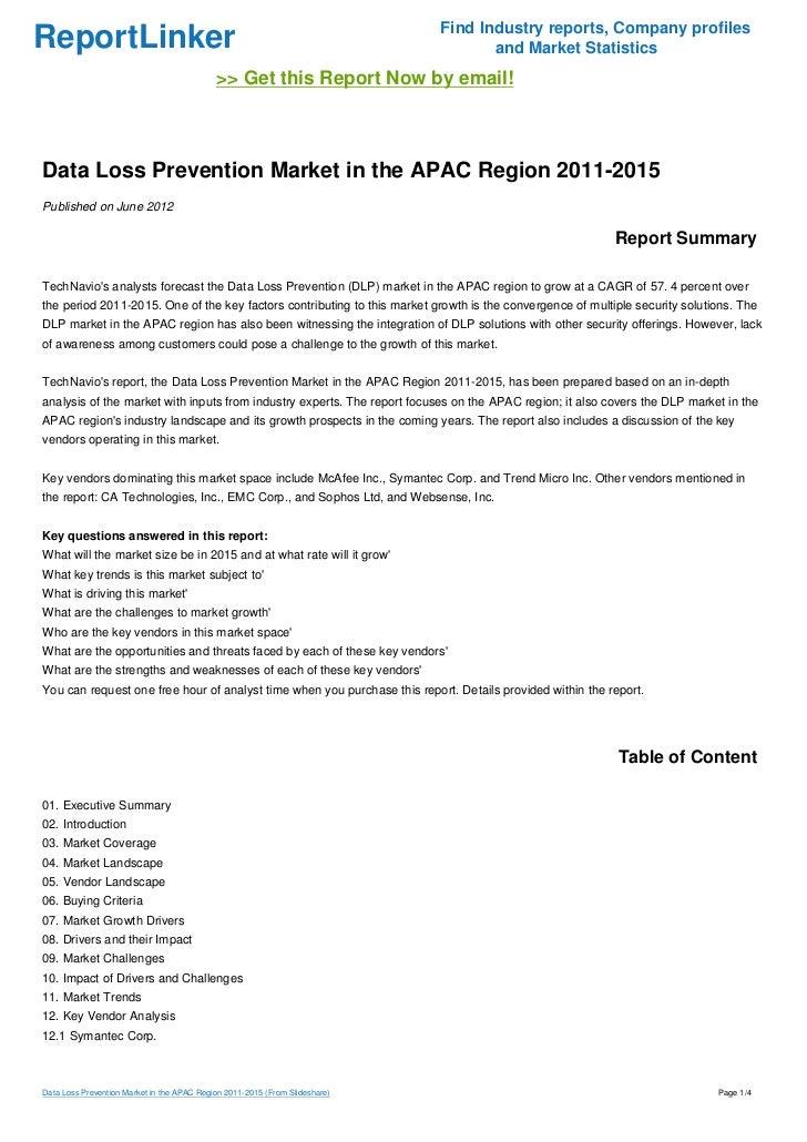 Data Loss Prevention Market in the APAC Region 2011-2015
