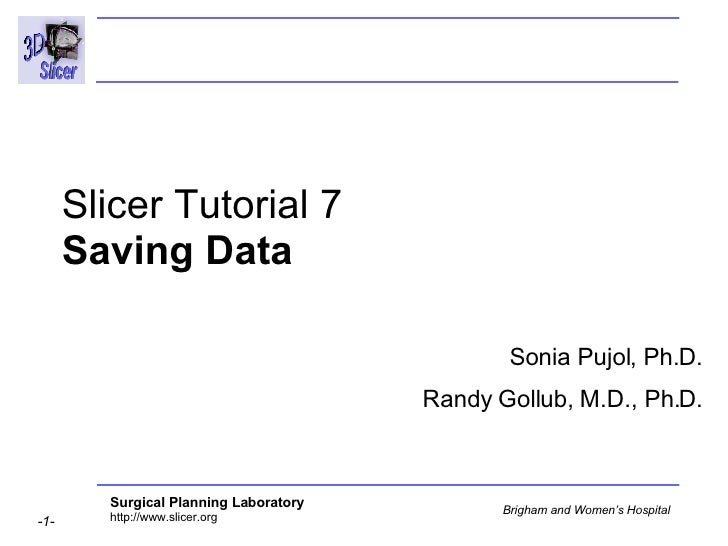 Slicer Tutorial 7 Saving Data Sonia Pujol, Ph.D. Randy Gollub, M.D., Ph.D.