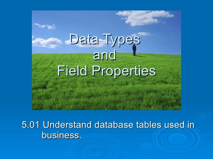 Data Types  and  Field Properties 5.01 Understand database tables used in business.