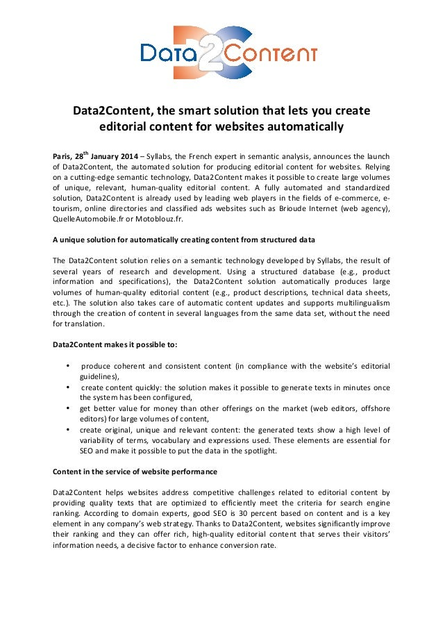 Data2Content,  the  smart  solution  that  lets  you  create   editorial  content  for  ...