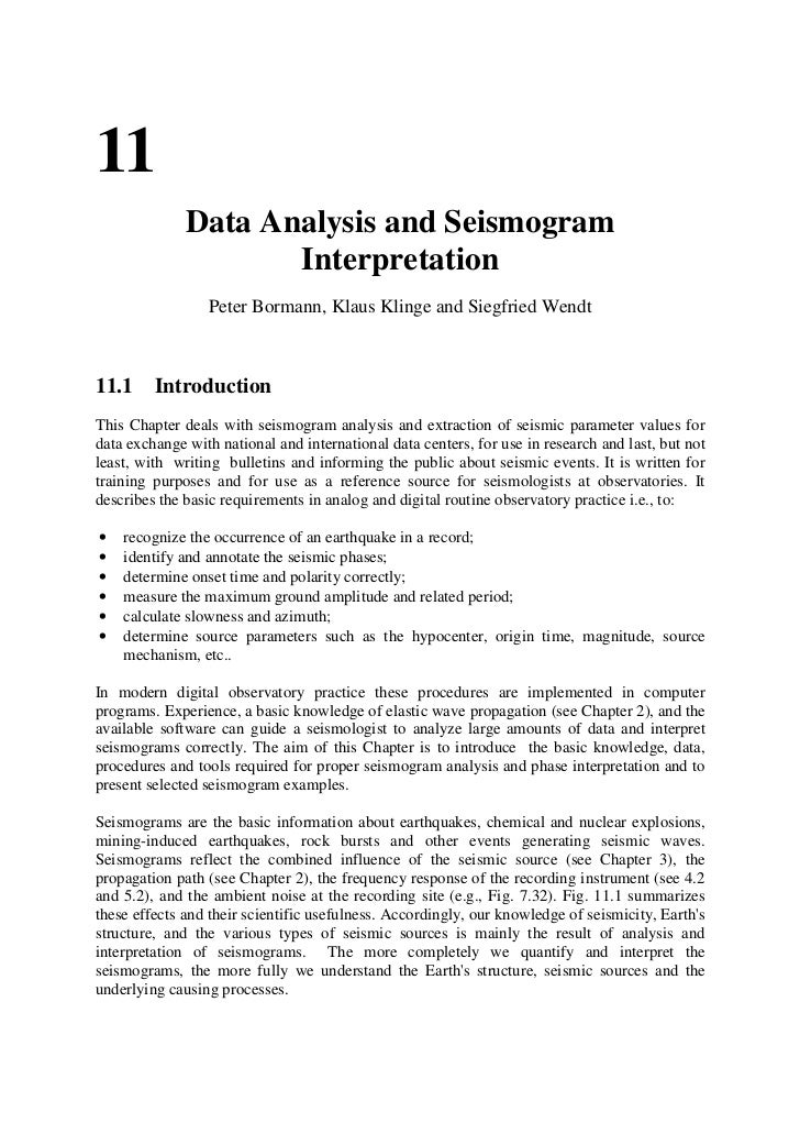 Data analysis and Seismogram Interpretation