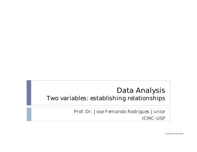 http://publicationslist.org/junio Data Analysis Two variables: establishing relationships Prof. Dr. Jose Fernando Rodrigue...