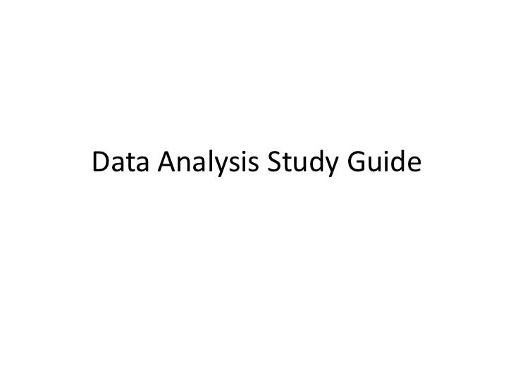 Data analysis study guide