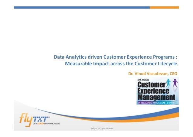 1 Data Analytics driven Customer Experience Programs : Measurable Impact across the Customer Lifecycle Dr. Vinod Vasudevan...