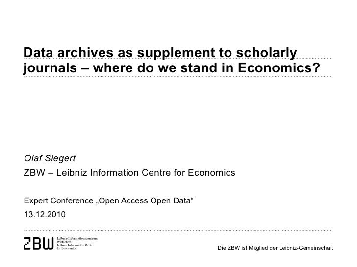 Olaf Siegert: Data archives as supplement to scholarly journals – where do we stand in Economics?