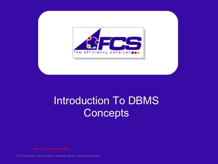 Introduction To DBMS Concepts