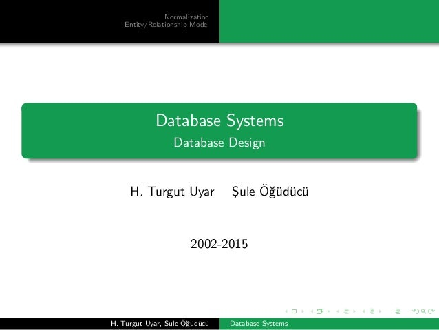 Normalization Entity/Relationship Model Database Systems Database Design H. Turgut Uyar ¸Sule ¨O˘g¨ud¨uc¨u 2002-2015 H. Tu...