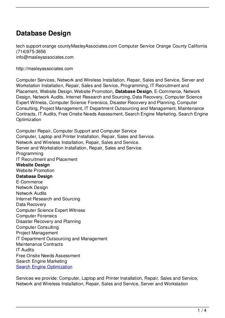 Database Designtech support orange countyMasleyAssociates.com Computer Service Orange County California(714)975-3656info@m...