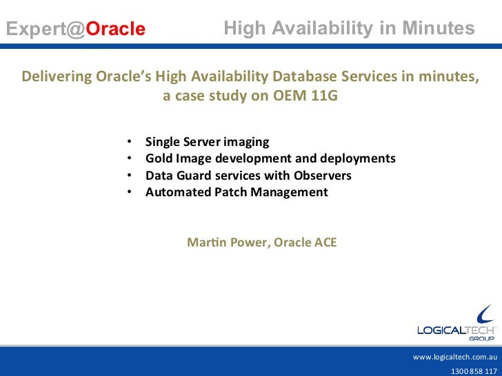 Expert@Oracle                                High Availability in Minutes                                           ...