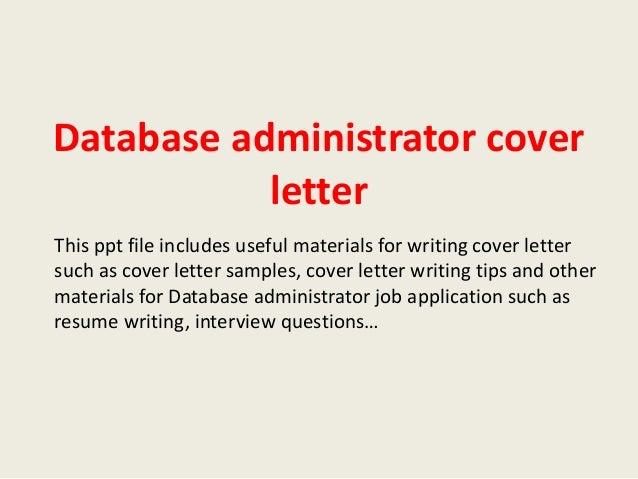 Sql database administrator cover letter