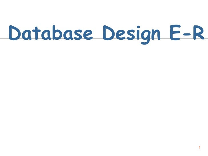 Database Design E R 2009