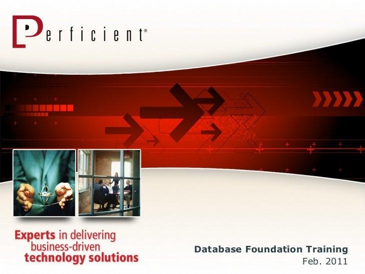 Database Foundation Training