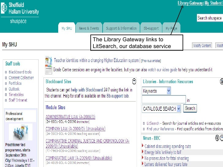 The Library Gateway links to LitSearch, our database service