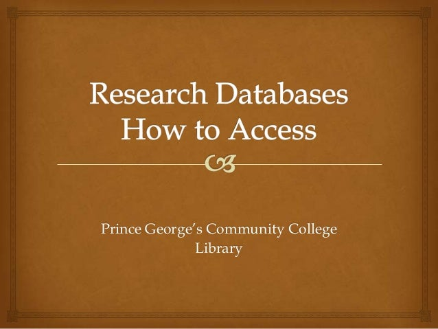 Research Databases - How to Access