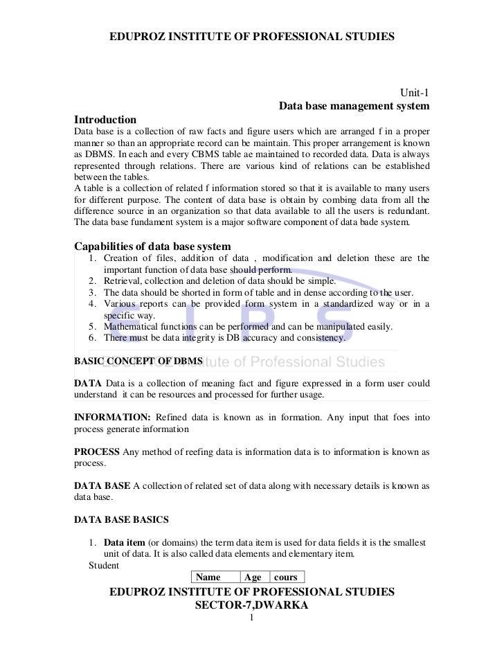 EDUPROZ INSTITUTE OF PROFESSIONAL STUDIES                                                                           Unit-1...