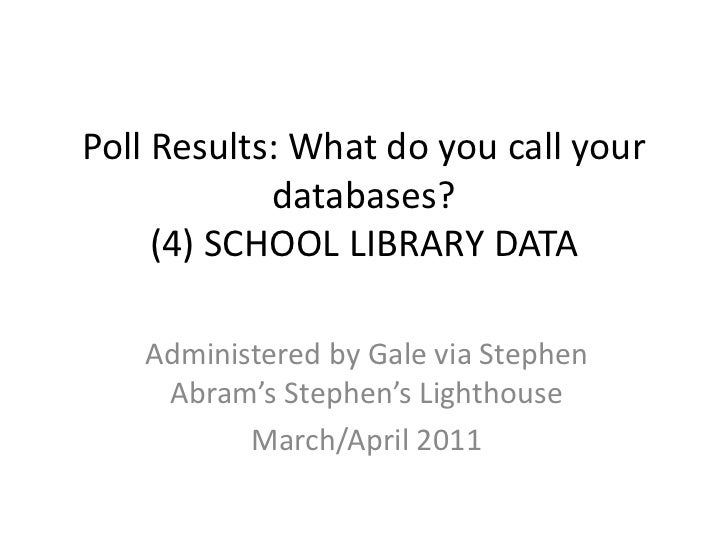 Poll Results: What do you call your databases?(4) SCHOOL LIBRARY DATA<br />Administered by Gale via Stephen Abram's Stephe...